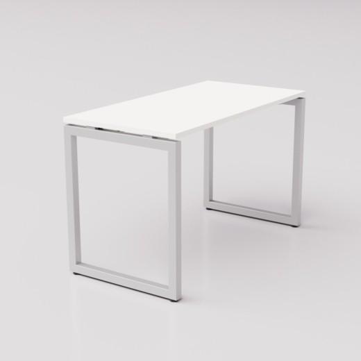 Белый рабочий стол на сером металлическом каркасе Зета ТР, 120х60см