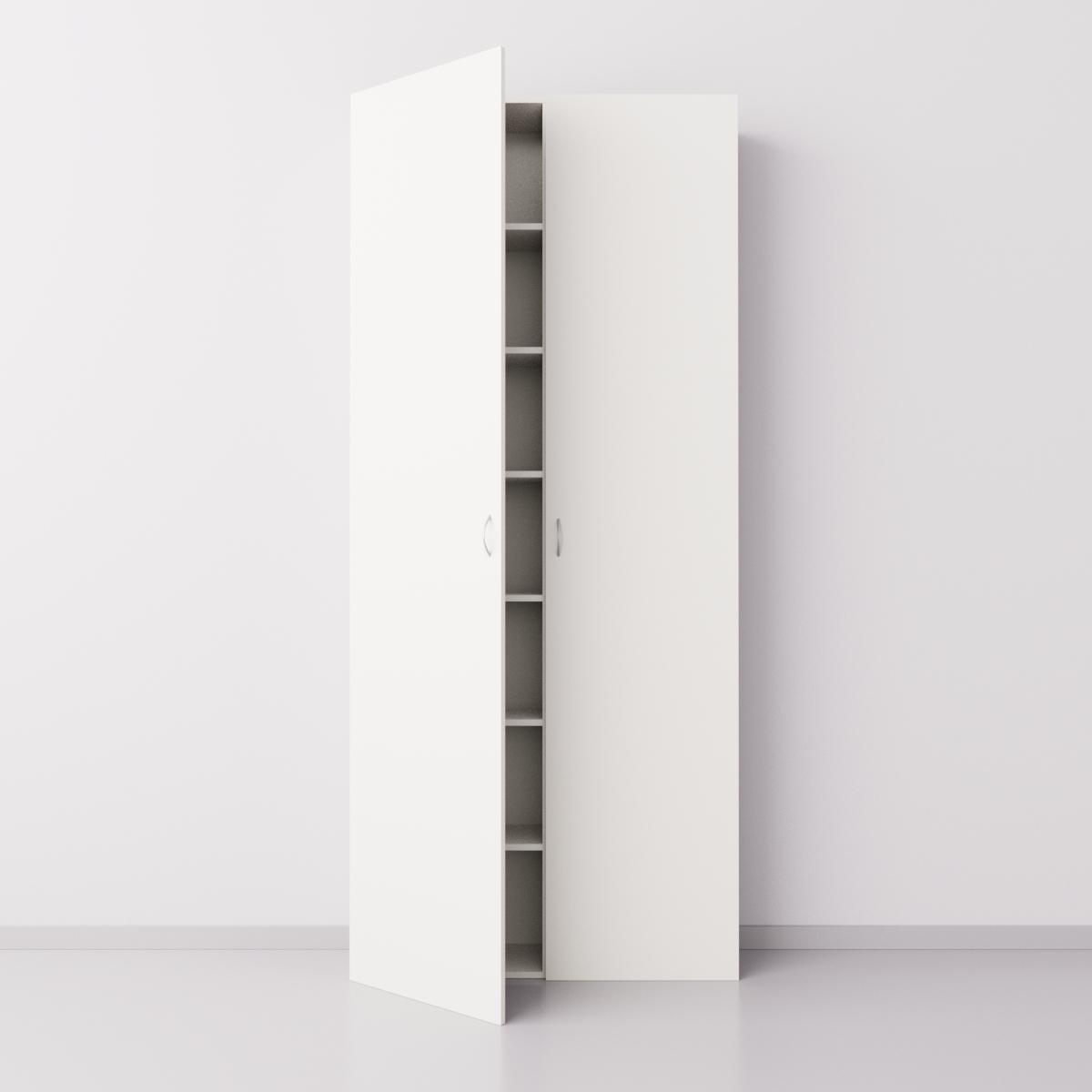 Высокий шкаф с двумя большими дверцами из ДСП, белый
