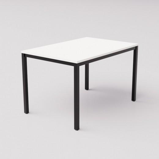 Белый обеденный стол на чёрном основании 120х80см