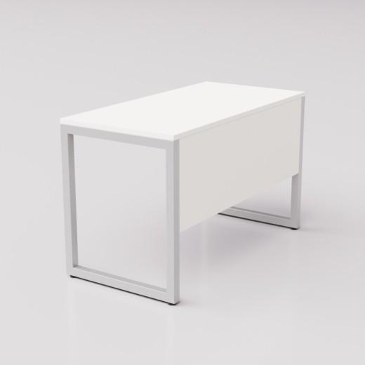 Белый рабочий стол на сером металлическом каркасе Зета ГЗ, 120х60см