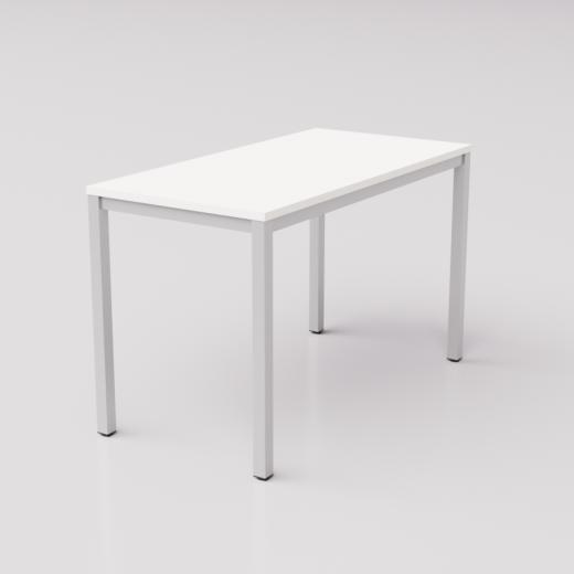 Белый стол на сером металлическом каркасе юнифлекс+, 120х60см