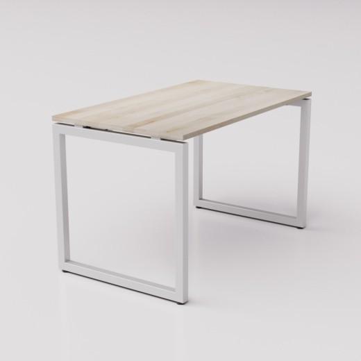 Широкий рабочий стол из берёзы на сером металлическом каркасе Зета ТР, 120х70см