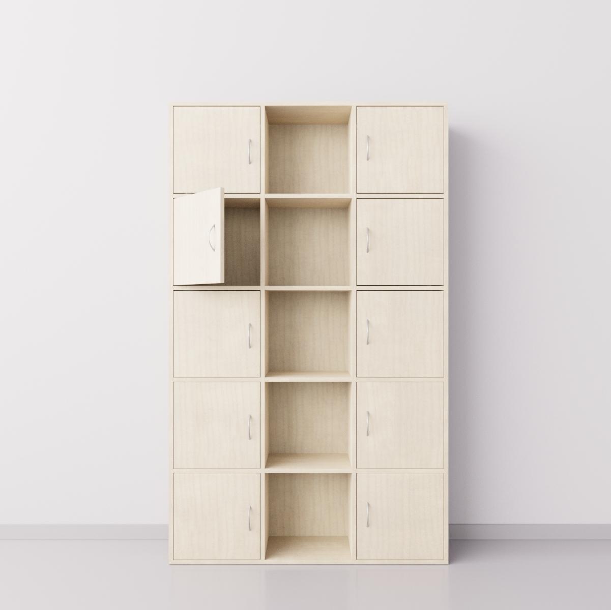 Шкаф из ДСП 3х5 квадратов с десятью дверцами , клён