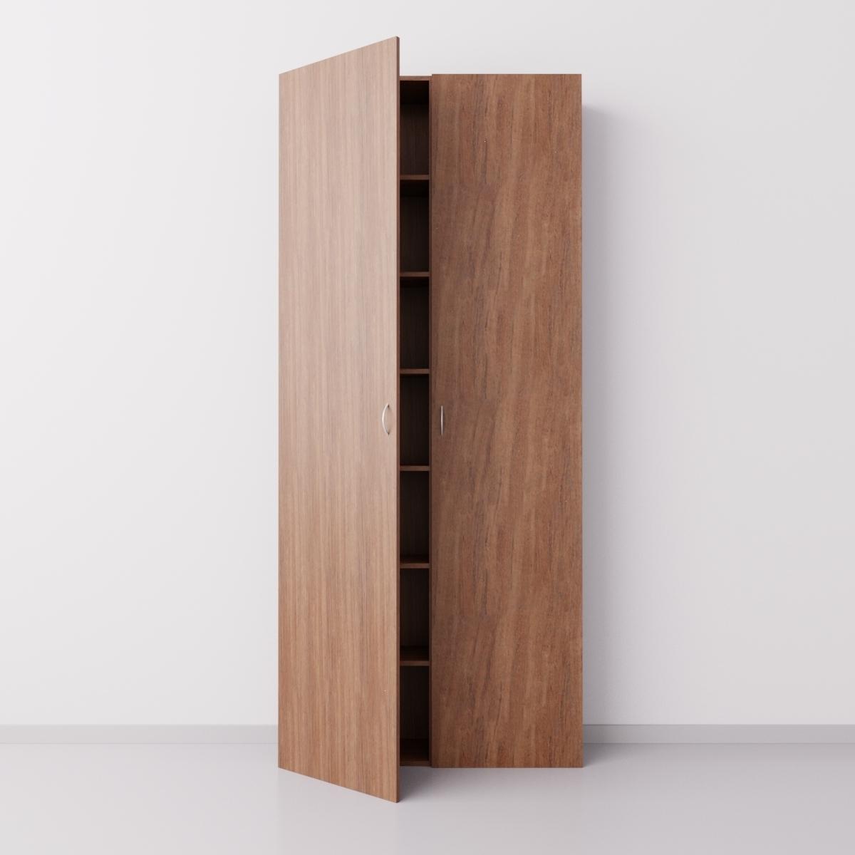 Высокий шкаф с двумя большими дверцами из ДСП, орех