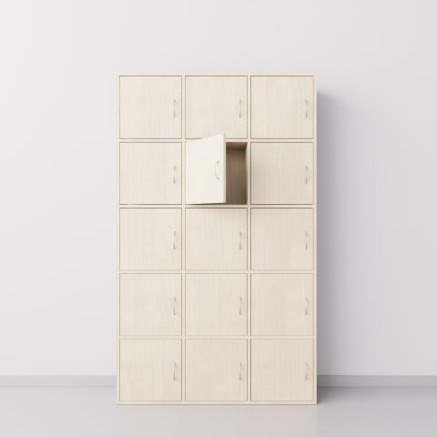 Шкаф из ДСП 3х5 квадратов с пятнадцатью дверцами , клён