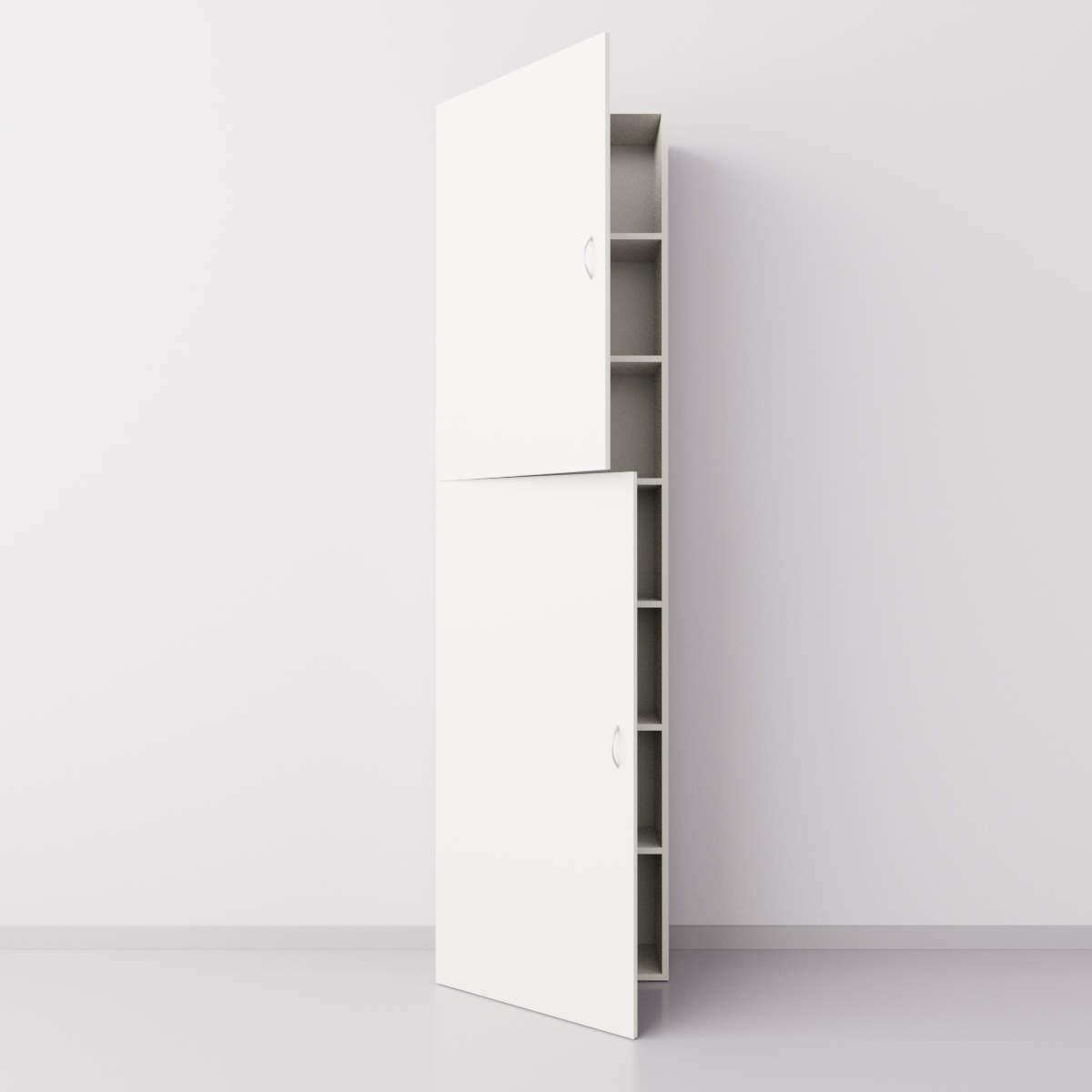 Шкаф из ДСП 1x7 прямоугольников с дверцами, белый