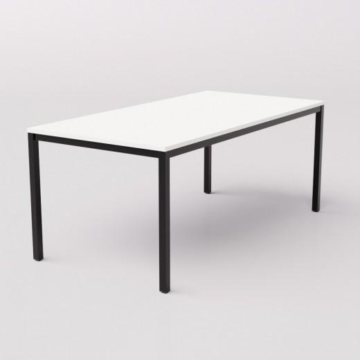 Длинный широкий белый стол на чёрном металлокаркасе 180х90см