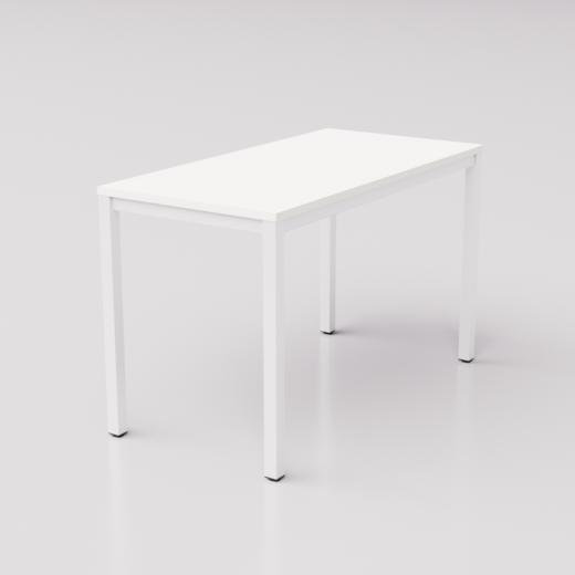 Белый стол на белом металлическом каркасе юнифлекс+, 120х60см