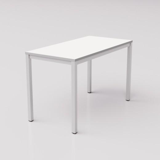 Белый стол с серой кромкой на металлическом каркасе юнифлекс+, 120х60см