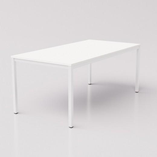 Большой белый стол на белом металлокаркасе 180х80см
