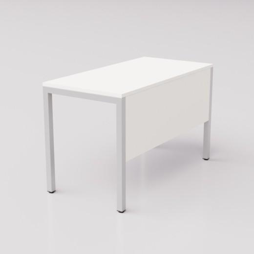 Белый стол на серебристом металлическом каркасе Формат ГЗ, 120х60см