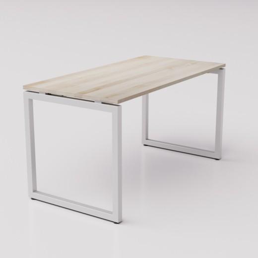 Большой рабочий стол из берёзы на сером металлическом каркасе Зета ТР, 140х70см