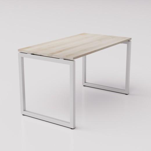 Большой письменный стол из берёзы на сером металлическом каркасе Зета ТР, 130х70см