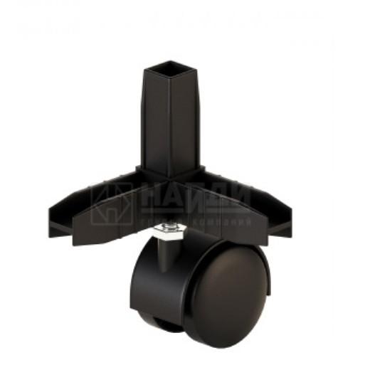 Коннектор 3 труб с колесной опорой Чёрный  (система Лофт)