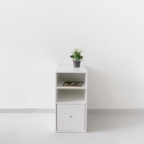 Тумба-опора с выдвижным ящиком для рабочего стола. Белый ДСП