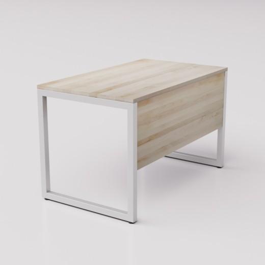 Рабочий стол из берёзы на сером металлическом каркасе Зета ГЗ, 120х70см