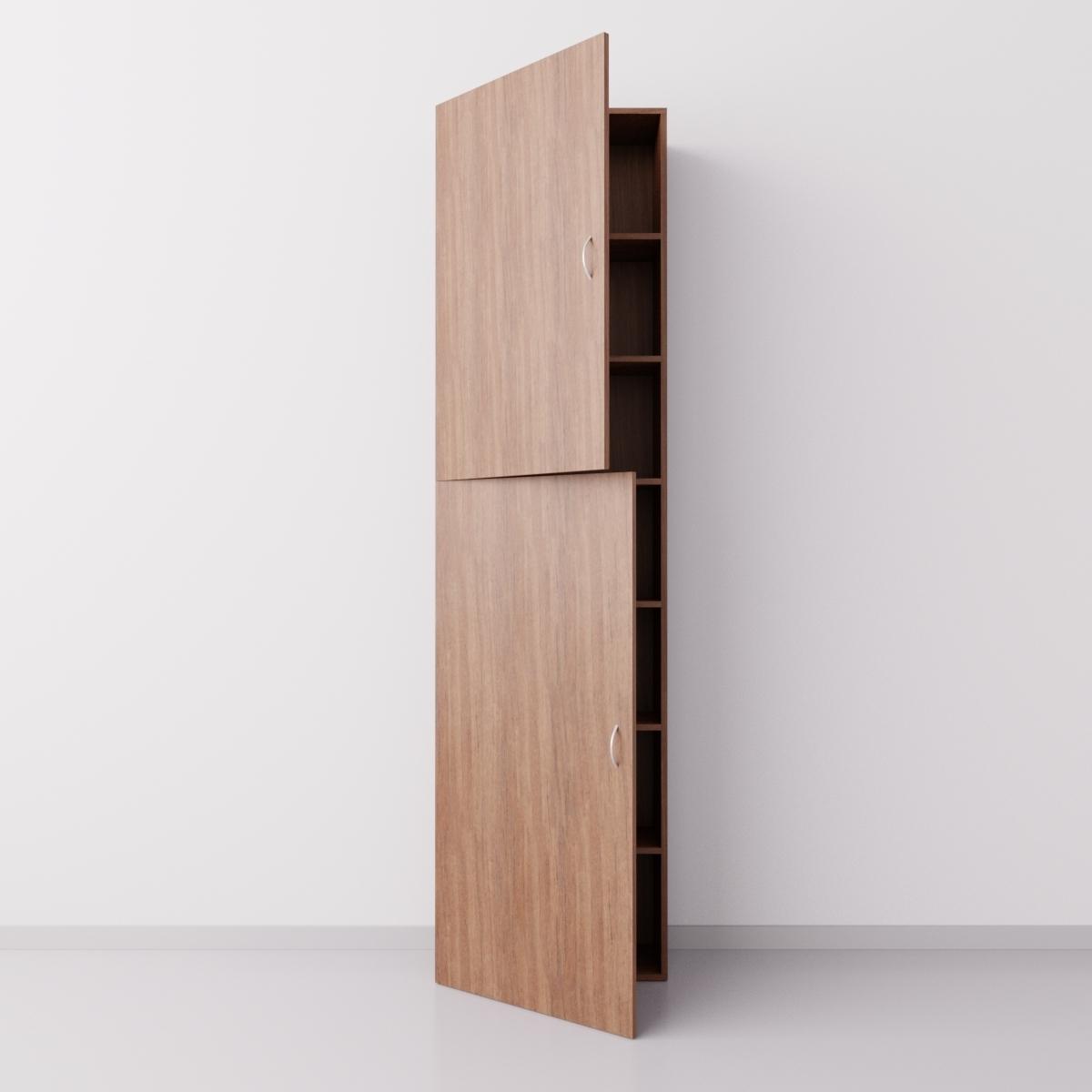 Шкаф из ДСП 1x7 прямоугольников с дверцами, орех