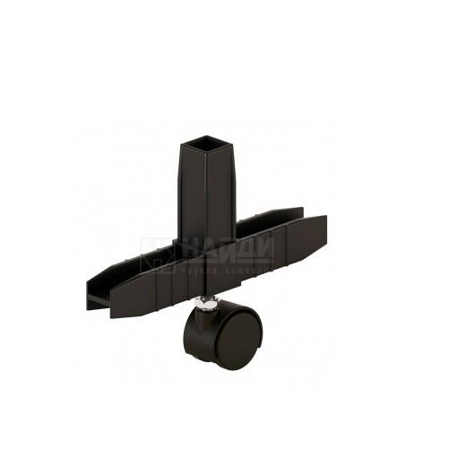 Коннектор 3 (2D) труб с колесной опорой Чёрный  (система Лофт)