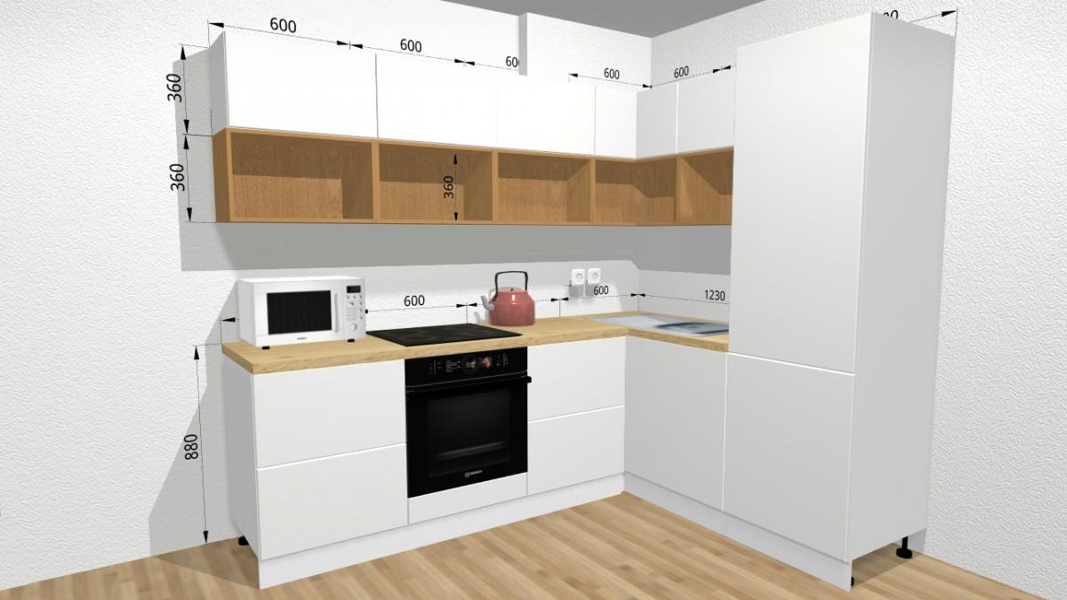 1. Белая кухня с дубовым шпоном