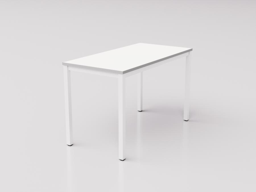 Белый стол с серой кромкой на белом металлическом каркасе юнифлекс+, 120х60см