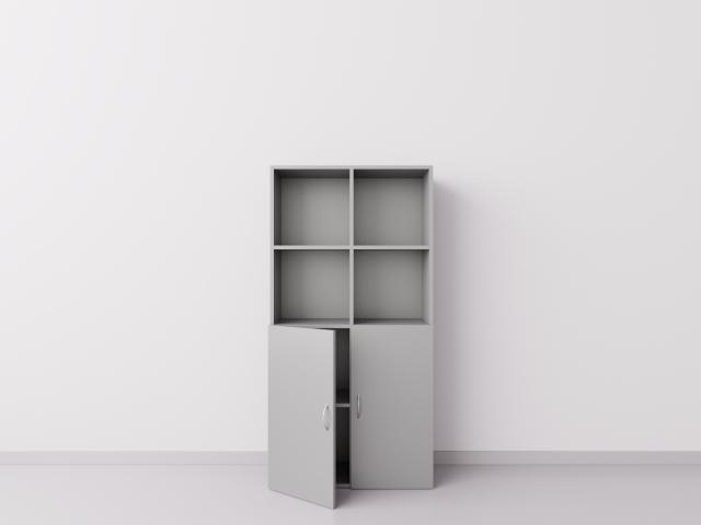Серебристый шкаф 2х4 с дверцами
