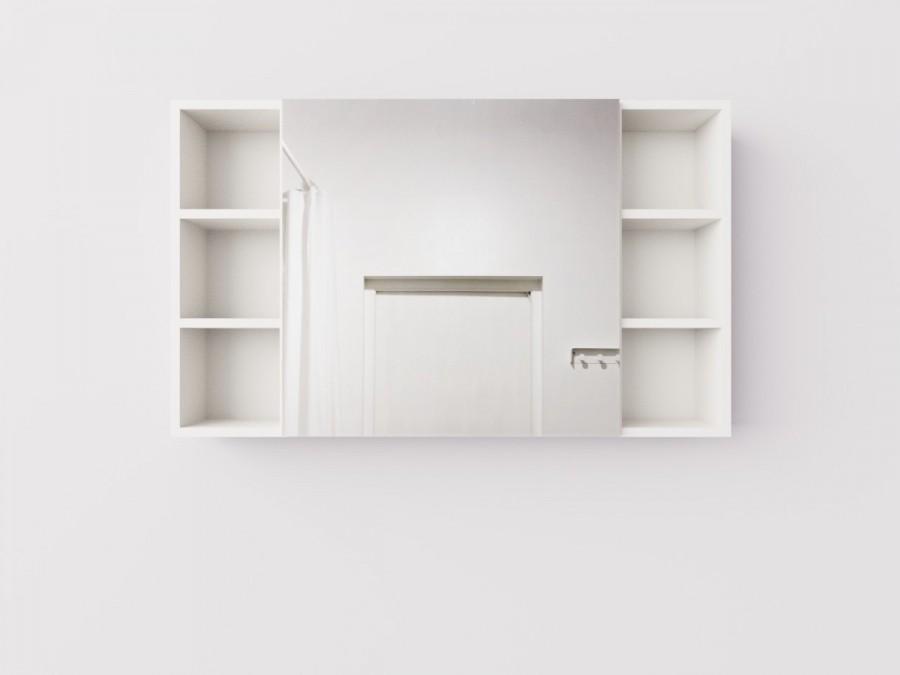 Навесной широкий шкаф с зеркалом и открытыми полками для ванной комнаты, ДСП