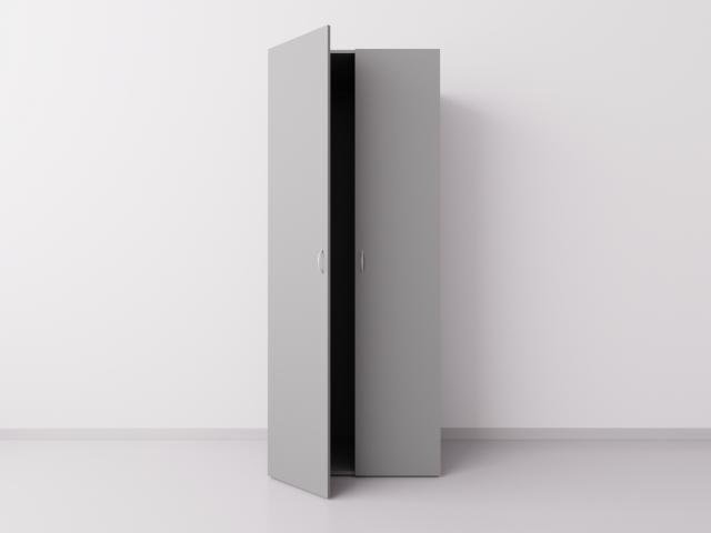 Шкаф для одежды двухстворчатый, ДСП, серый