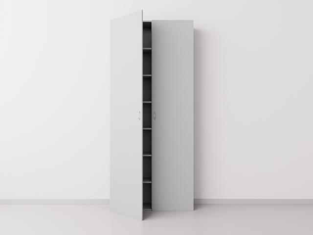 Высокий шкаф с двумя большими дверцами из ДСП, серый