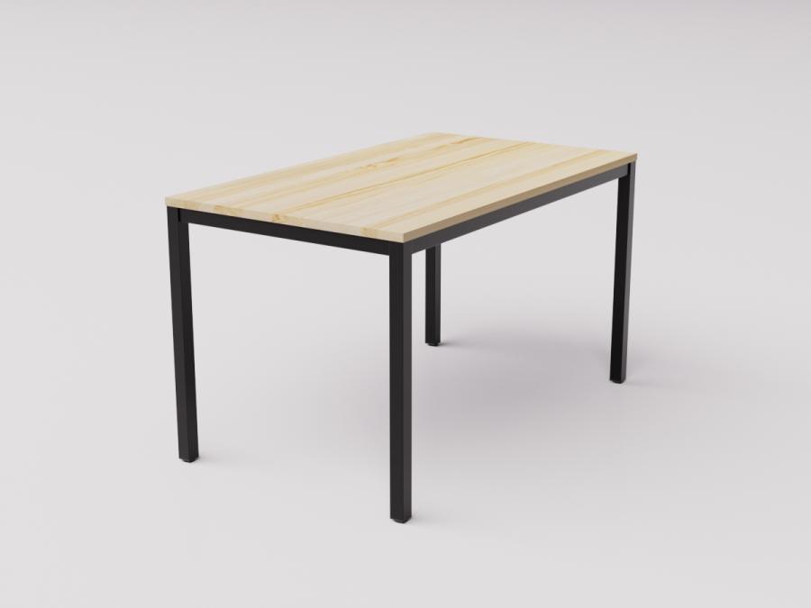 Обеденный стол из натуральной сосны на чёрном металлокаркасе, 130х80см