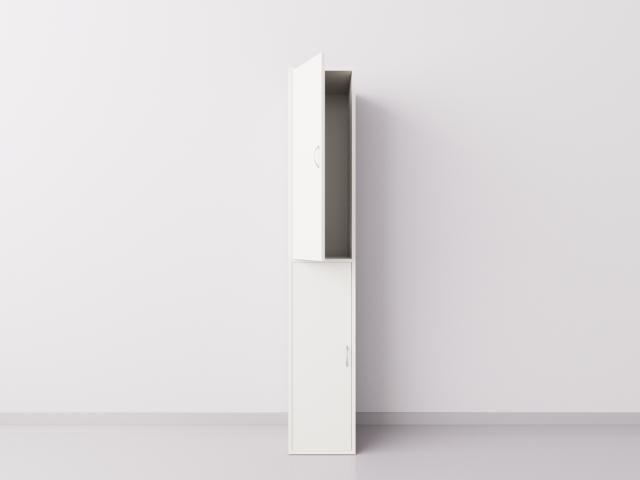 Шкаф для раздевалки из ДСП 1х2 вертикальные секции, белый