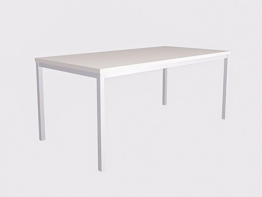 Большой белый стол на белом металлокаркасе 180х90см