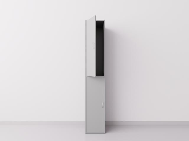 Шкаф для раздевалки из ДСП 1х2 вертикальные секции, серый