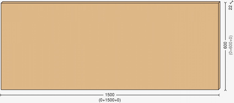 Столешница 150х60см, массив берёзы 22мм + бесцветный лак