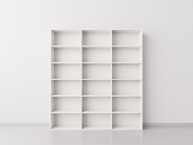 Высокий широкий стеллаж 3x6 прямоугольников, белый
