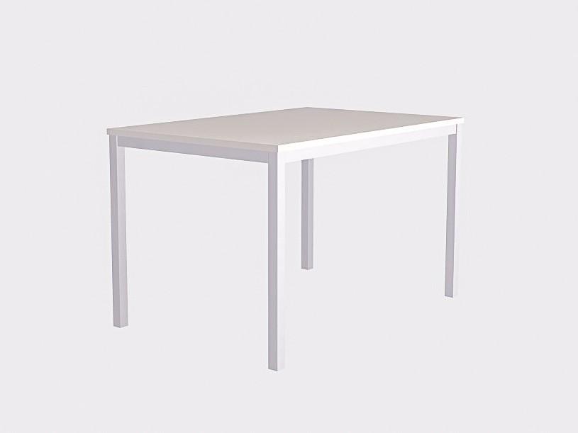 Белый обеденный стол на белом основании 120х80см