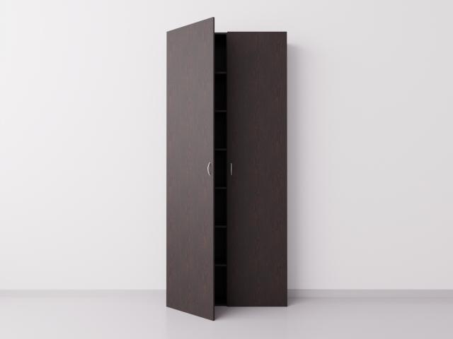 Высокий шкаф с двумя большими дверцами из ДСП, венге
