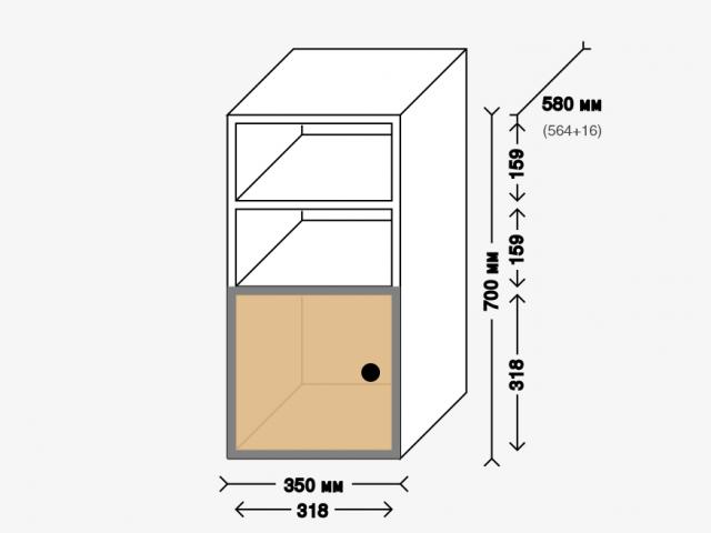 Тумба-опора с дверкой для рабочего стола. Белый ДСП и фанера