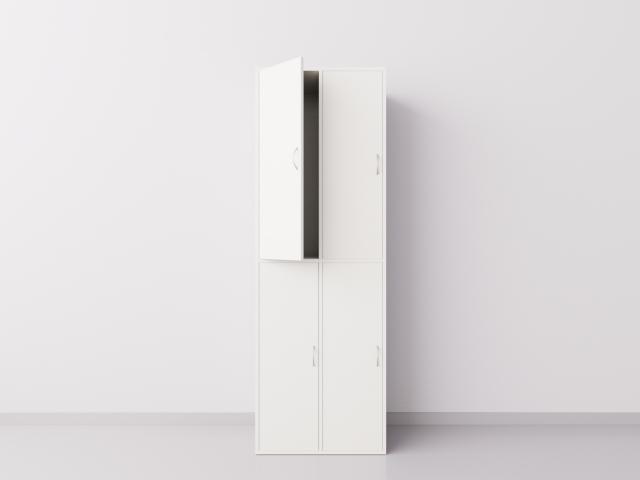 Шкаф для раздевалки из ДСП 2х2 вертикальные секции, белый