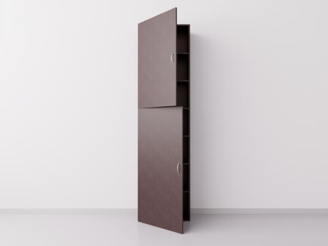 Шкаф из ДСП 1x7 прямоугольников с дверцами, венге