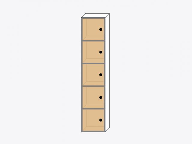 Шкаф из пяти квадратов с дверками из фанеры