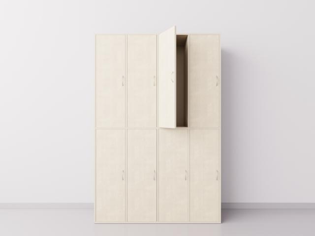 Шкаф для раздевалки из ДСП 4х2 вертикальные секции, клён