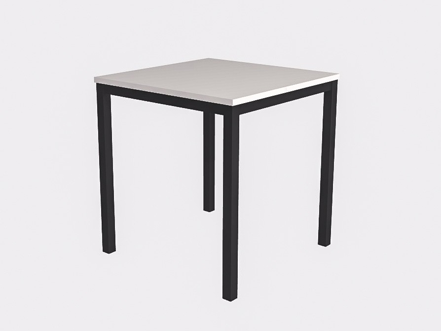 Белый квадратный стол на чёрном металлокаркасе 70х70см