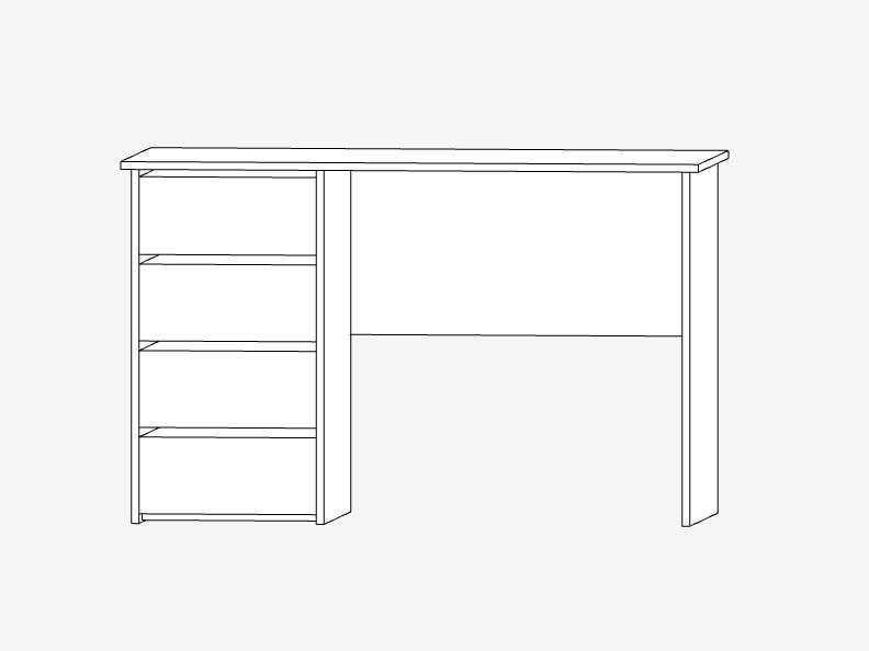 Стол письменный с ящиками из ДСП, 1200х600мм, белый