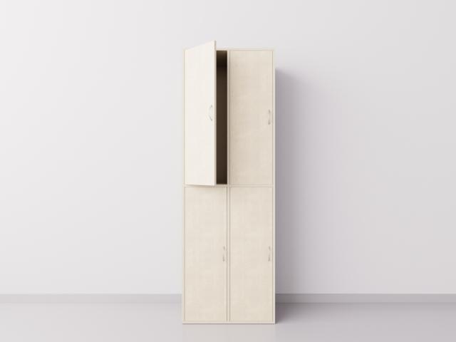Шкаф для раздевалки из ДСП 2х2 вертикальные секции, клён