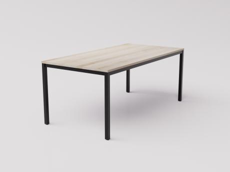 Большой стол из натуральной берёзы на чёрном металлокаркасе 180х90см