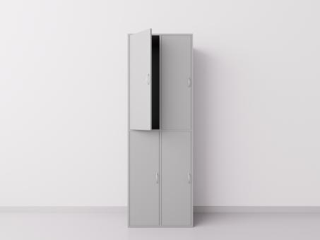 Шкаф для раздевалки из ДСП 2х2 вертикальные секции, серый