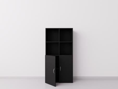 Чёрный шкаф 2х4 с двецами