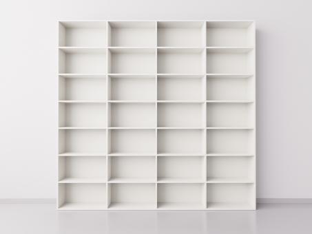 Высокий широкий стеллаж 4x7 прямоугольников, белый