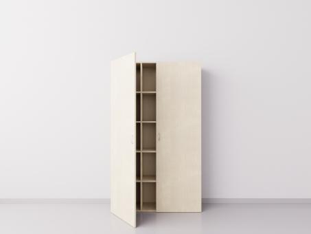 Шкаф из ДСП 3х5 квадратов с двумя большими дверцами , клён
