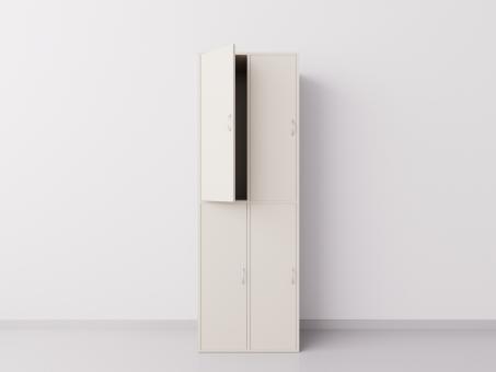 Шкаф для раздевалки из ДСП 2х2 вертикальные секции, бежевый